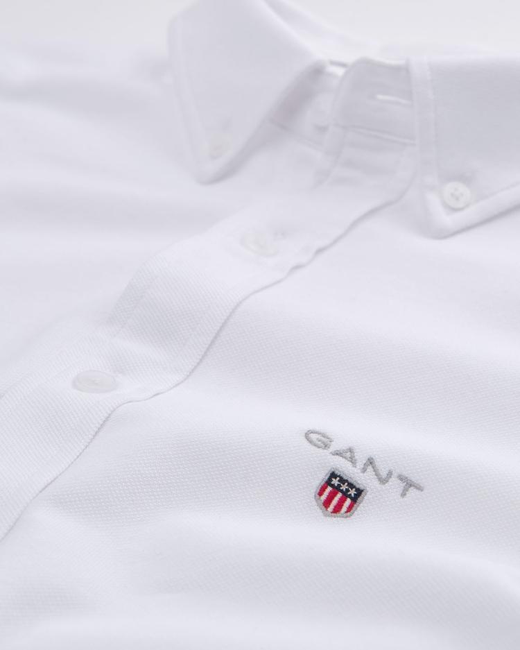 GANT Erkek Beyaz Regular Fit Tech Prep Pique Gömlek