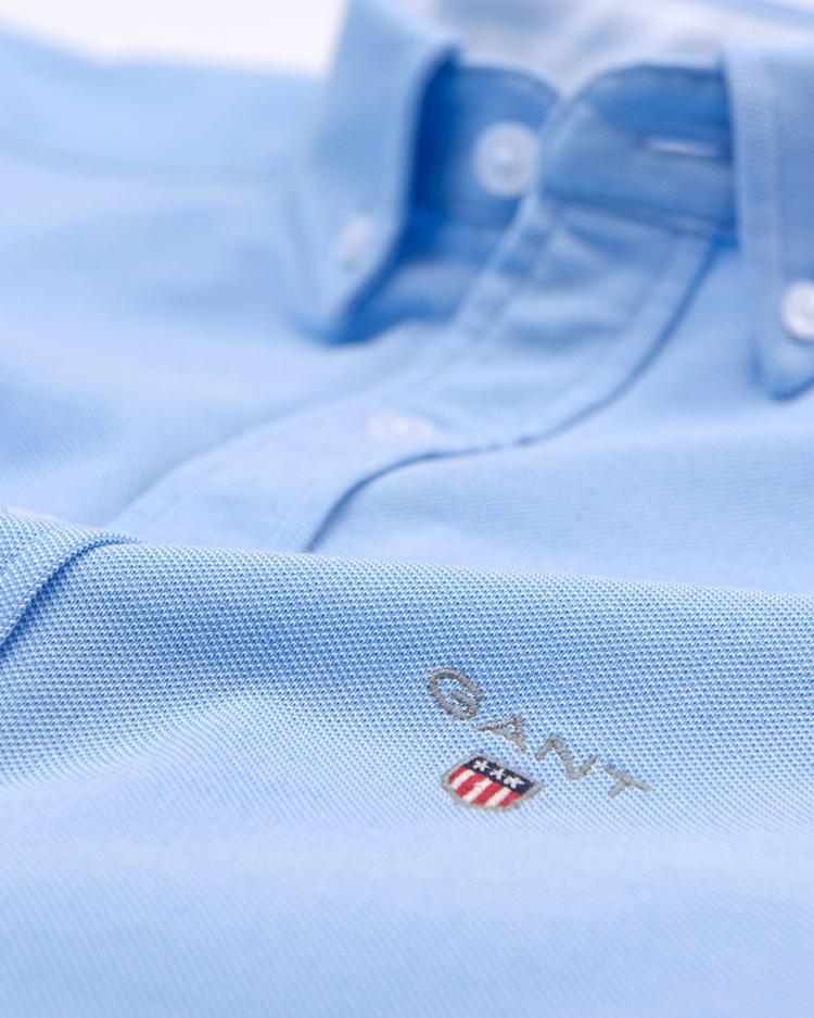 GANT Erkek Mavi Regular Fit Tech Prep Pique Gömlek