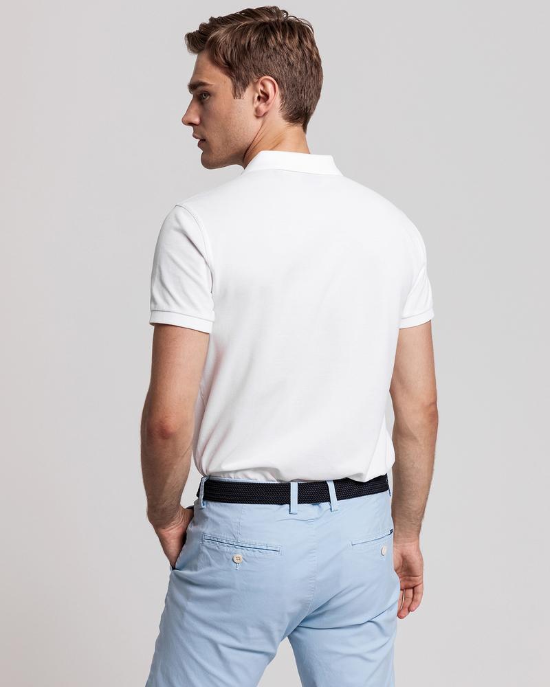 GANT Erkek Beyaz Slim Fit Pique Polo