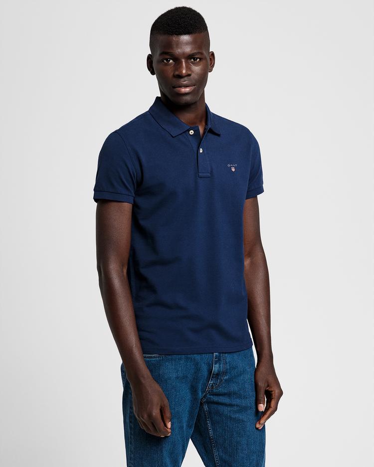 GANT Erkek Lacivert Slim Fit Pique Polo