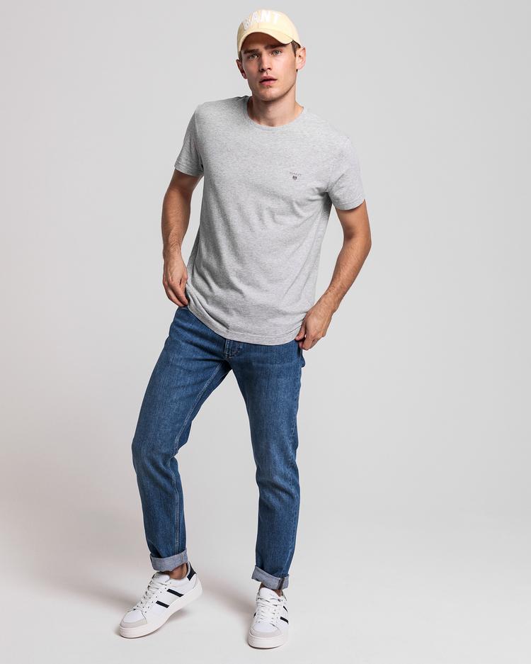 Gant Erkek Açık Gri Melanj Regular Fit T-Shirt