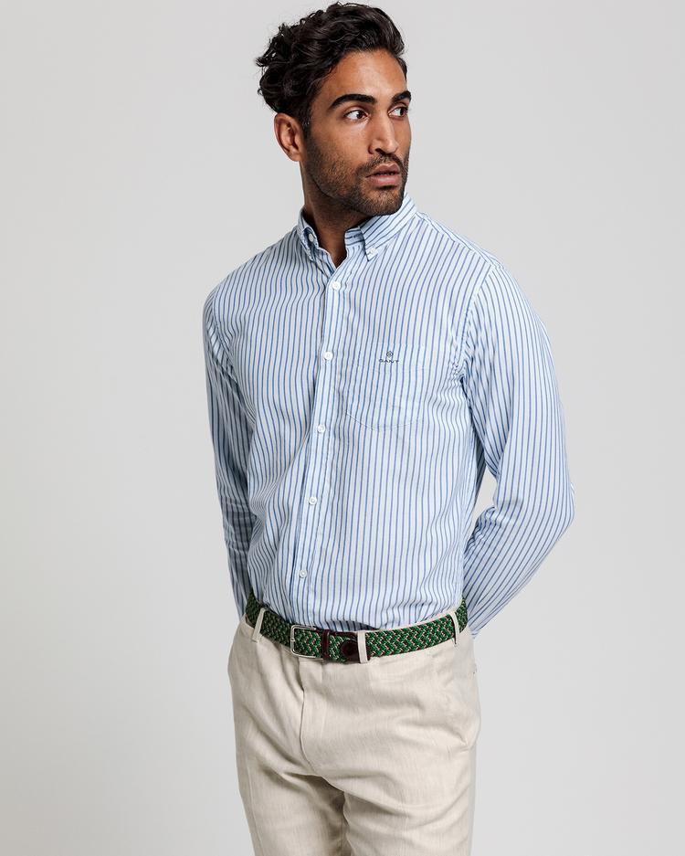 GANT Erkek Mavi Çizgili Regular Fit Gömlek