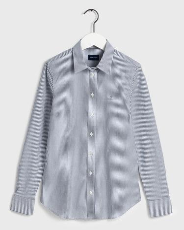 Gant Kadın Lacivert Regular Fit Çizgili Gömlek