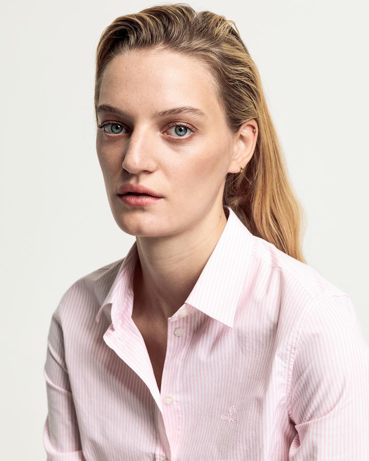 GANT Kadın Pembe Regular Fit Çizgili Gömlek