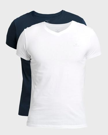 GANT Erkek Beyaz Lacivert 2'li V Yaka T-Shirt