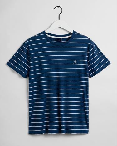 GANT Erkek Mavi Keten Regular Fit Keten T-Shirt