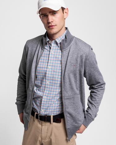 Gant Erkek Gri Melanj Fermuarlı Sweatshirt