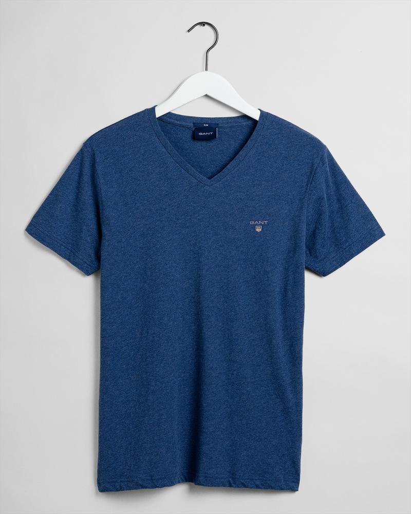 GANT Erkek Mavi V Yaka Slim Fit T-Shirt