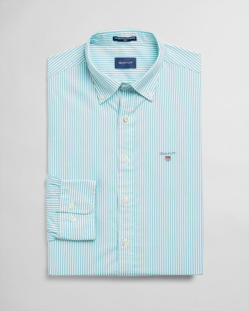 GANT Erkek Yeşil Çizgili Slim Fit Gömlek