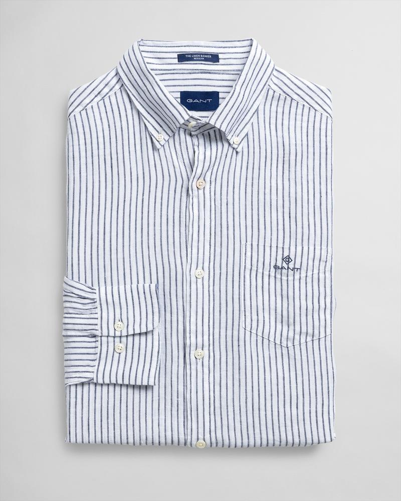 GANT Erkek Beyaz Çizgili Regular Fit Gömlek