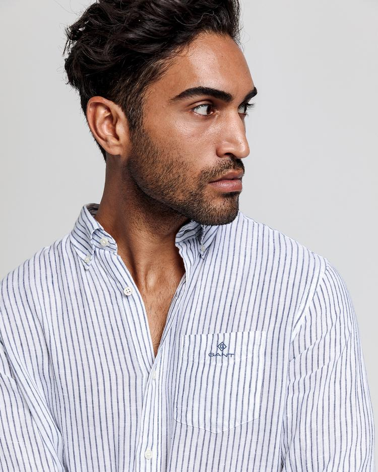 GANT Erkek Beyaz Çizgili Regular Fit Keten Gömlek