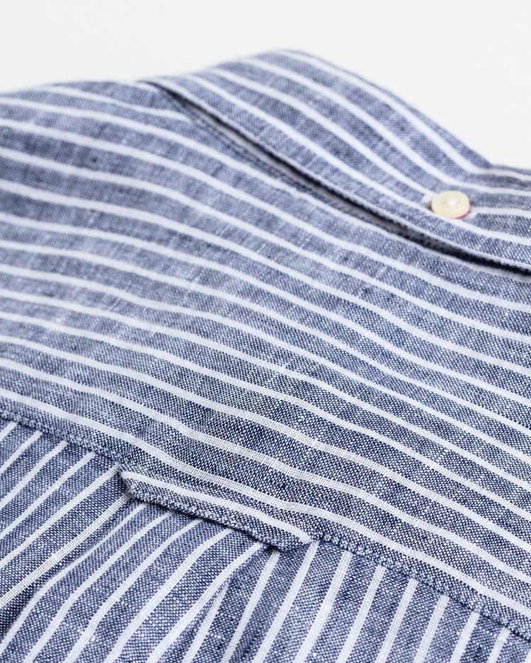 GANT Erkek Mavi Çizgili Regular Fit Keten Gömlek