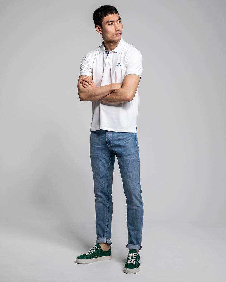 GANT Erkek Beyaz Kısa Kollu Regular Fit Polo