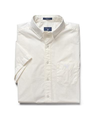 GANT Erkek Beyaz Regular Broadcloth Kısa Kollu Gömlek