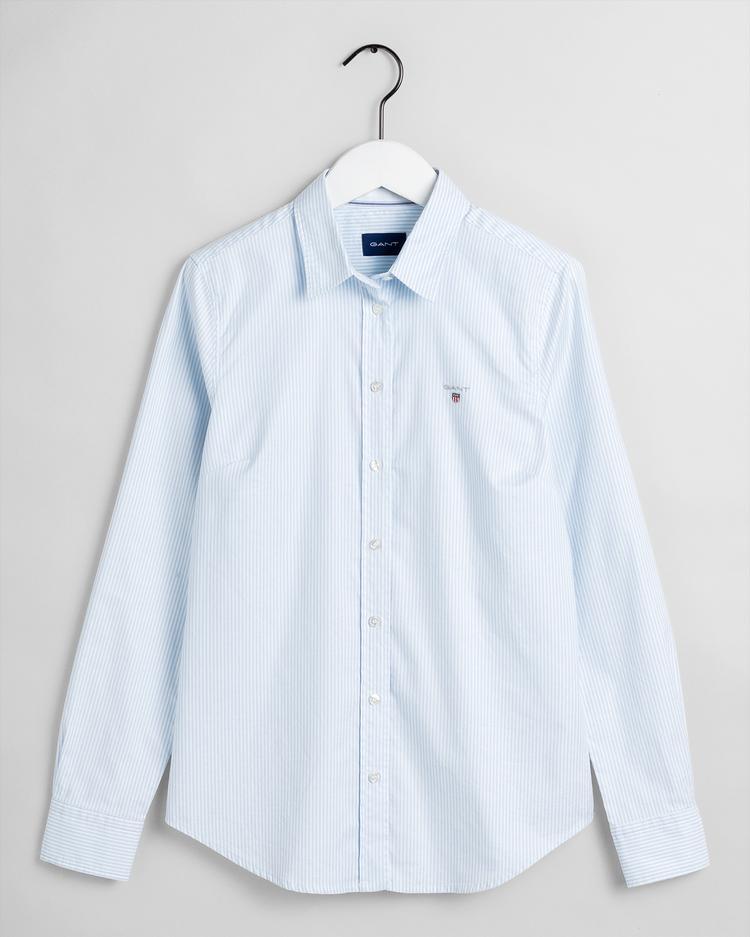 GANT Kadın Çizgili Mavi Gömlek