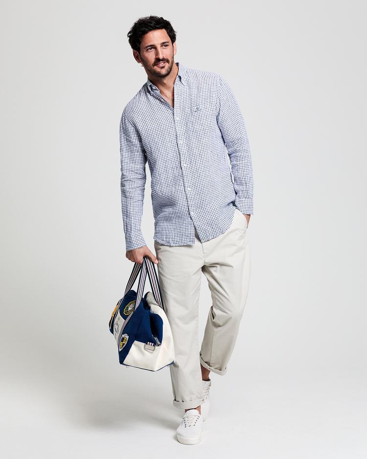 GANT Erkek Beyaz Regular Fit Keten Gömlek