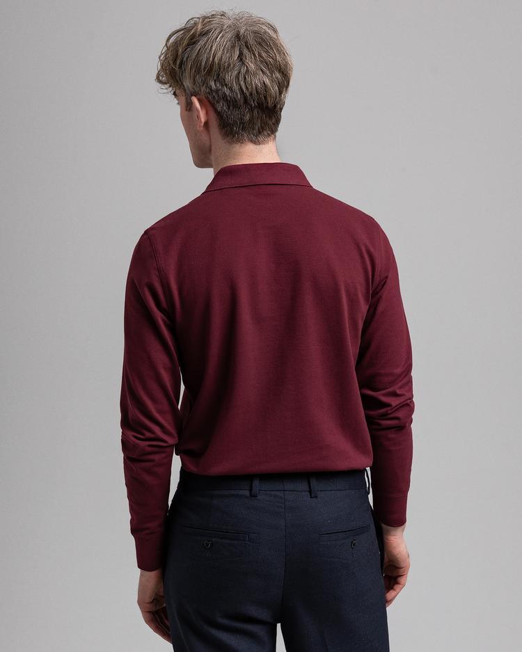 GANT Erkek Kırmızı Uzun Kollu Regular Fit Polo