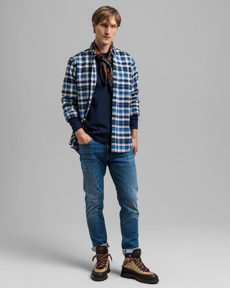 GANT Erkek Mavi Regular Fit Kareli Gömlek