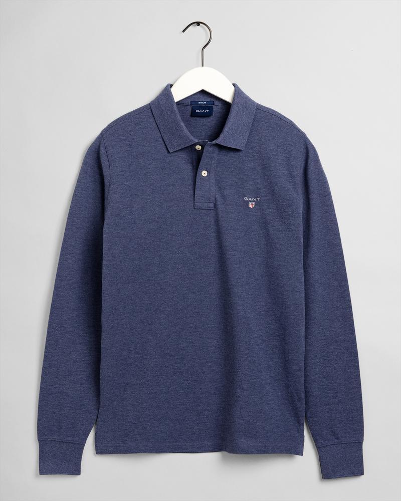 GANT Erkek Koyu Mavi Uzun Kollu Regular Fit Polo