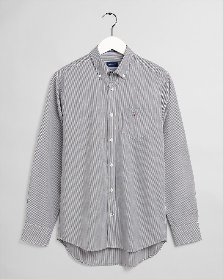GANT Erkek Siyah Çizgili Regular Fit Gömlek