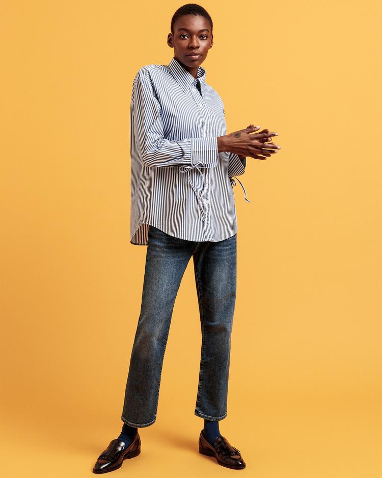 GANT Kadın Mavi Relaxed Fit Tech Prep Gömlek