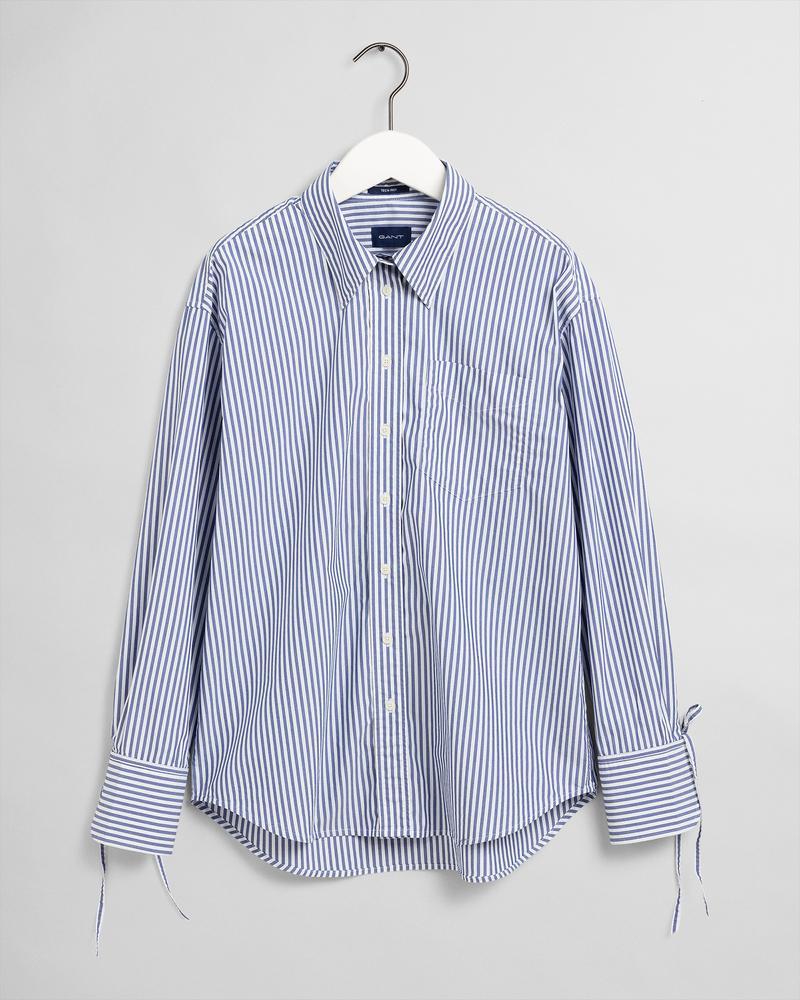 GANT Kadın Mavi Çizgili Relaxed Fit Tech Prep Gömlek