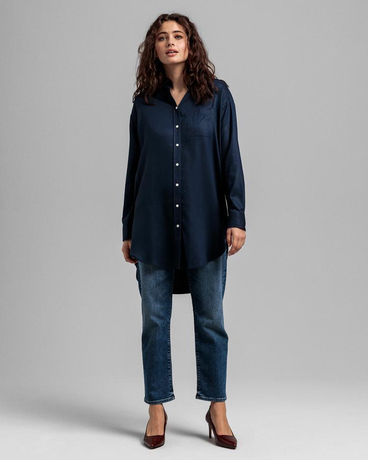 GANT Kadın Lacivert Relaxed Fit Uzun Gömlek