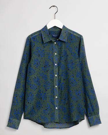 GANT Kadın Yeşil Regular Fit İpek Gömlek