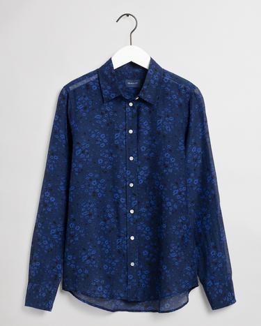 GANT Kadın Lacivert Regular Fit İpek Gömlek