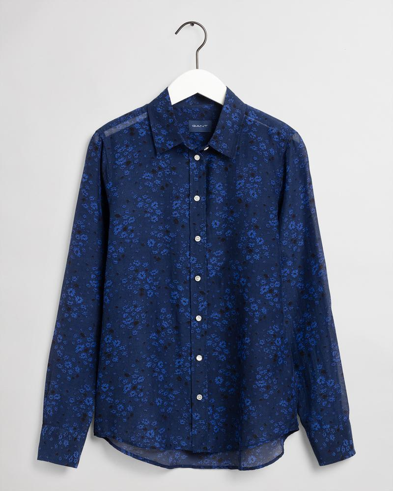GANT Kadın Lacivert Desenli Regular Fit Gömlek
