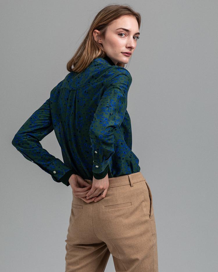 GANT Kadın Yeşil Desenli Regular Fit İpek Gömlek