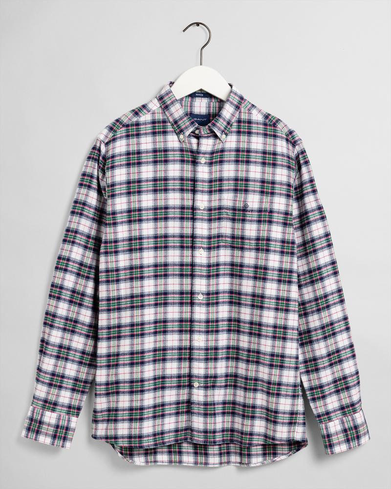 GANT Erkek Beyaz Kareli Regular Fit Gömlek