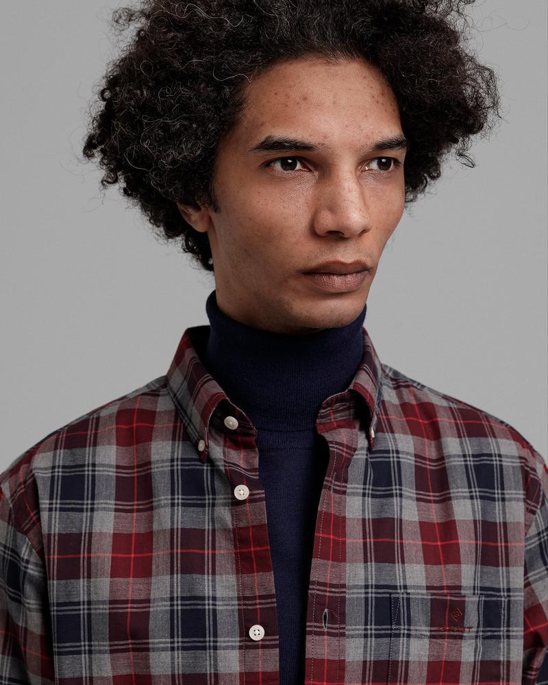 GANT Erkek Gri Kareli Regular Fit Gömlek