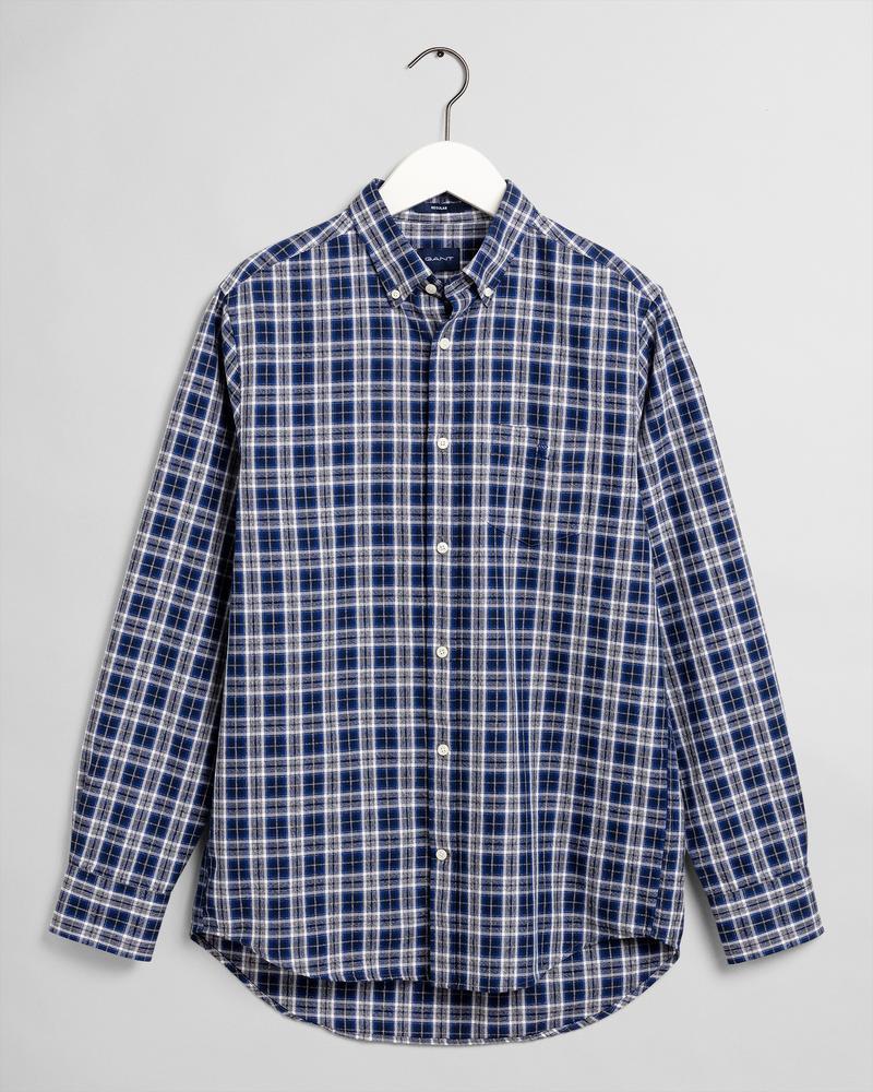 GANT Erkek Mavi Kareli Regular Fit Gömlek