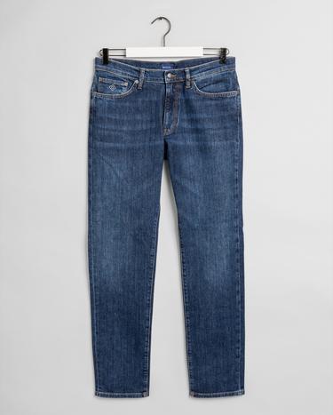GANT Erkek Koyu Mavi Slim Fit Jean Pantolon