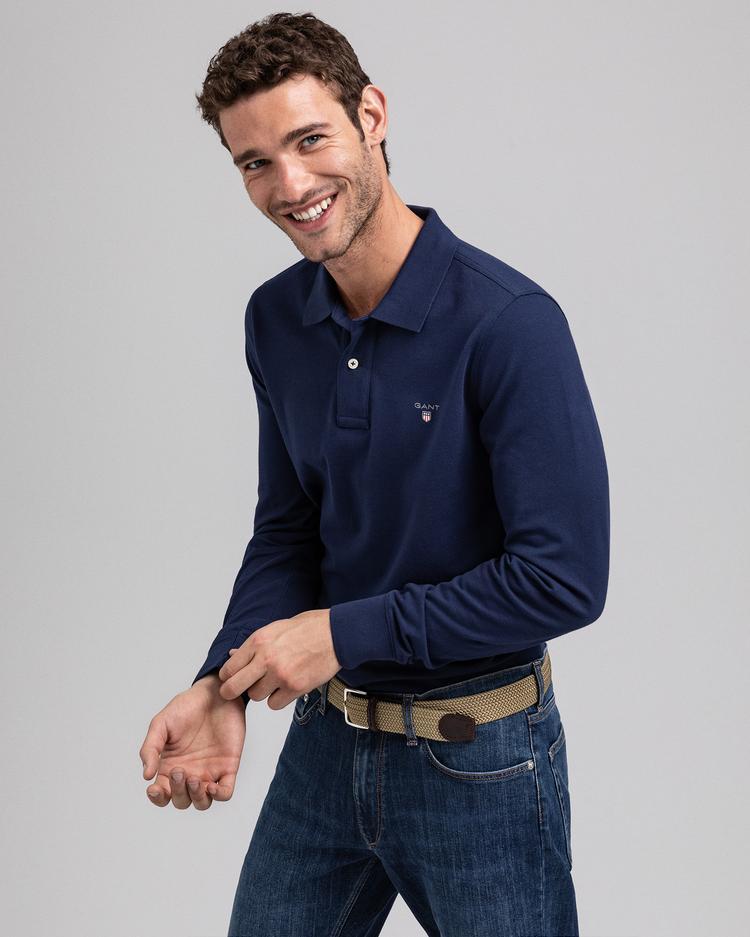 GANT Erkek Lacivert Uzun Kollu Regular Fit Polo