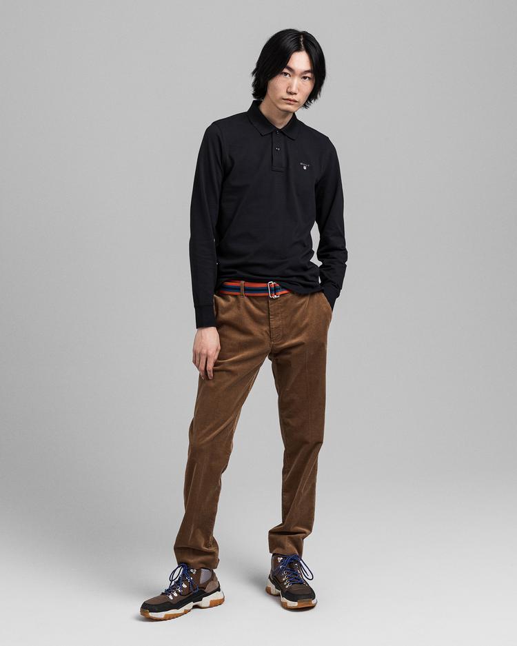 GANT Erkek Siyah Uzun Kollu Regular Fit Polo