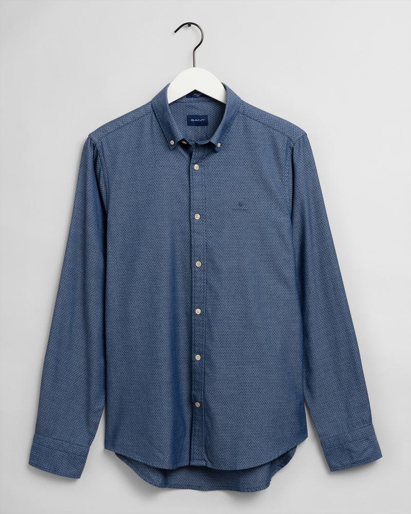 GANT Erkek Koyu Mavi Slim Fit Gömlek