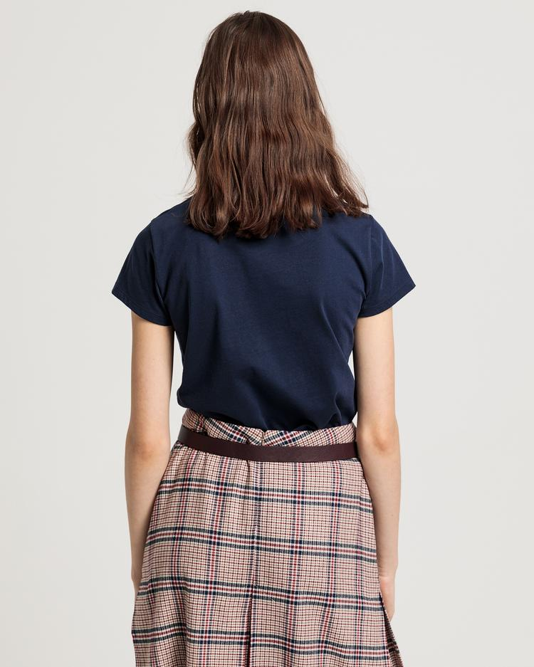GANT Kadın Lacivert Logo Baskılı T-Shirt