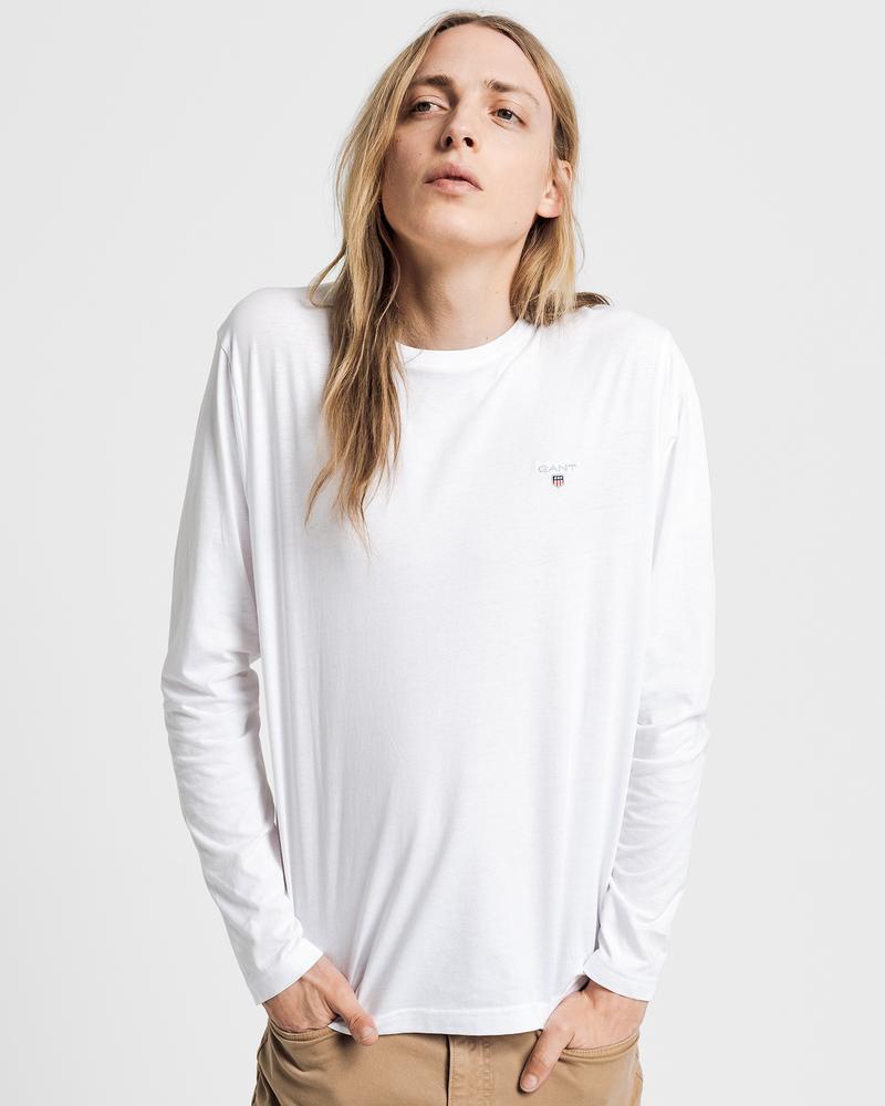 GANT Erkek Beyaz Uzun Kollu T-Shirt