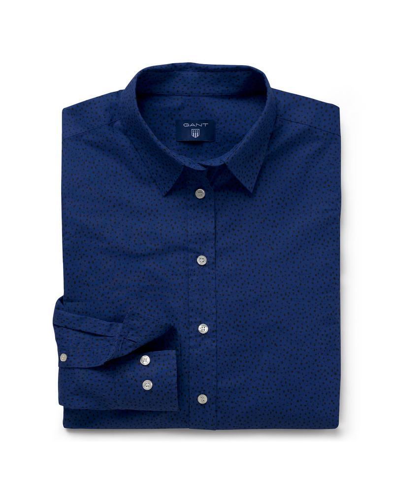 Kadın Lacivert Noktalı Regular Gömlek