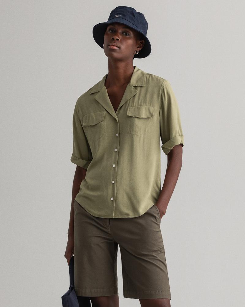 GANT Kadın Yeşil Lightweight Safari Gömlek