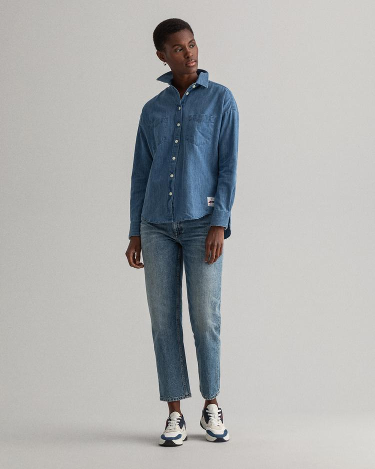 GANT Kadın Mavi Denim Gömlek