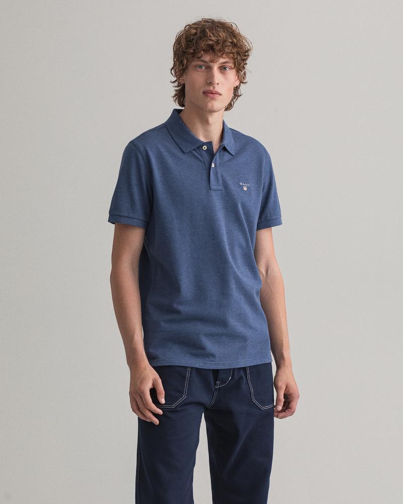 Gant Erkek Mavi Kısa Kollu Regular Fit Polo