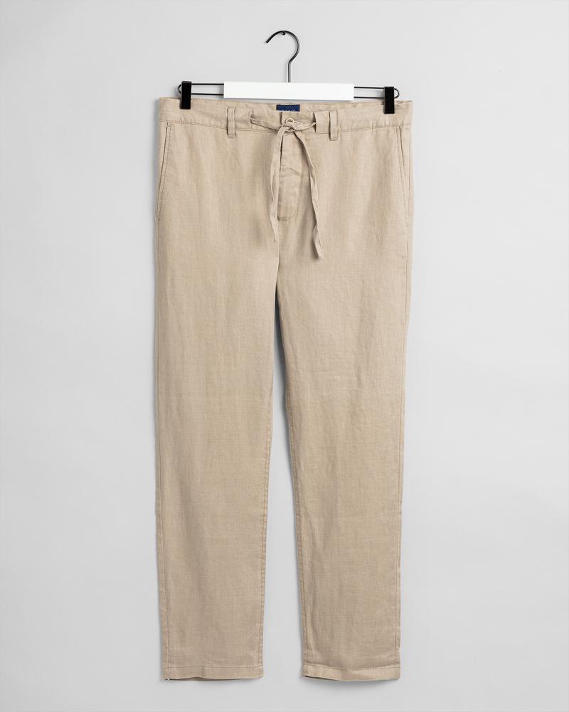 Gant Erkek Bej Regular Fit Keten Pantolon