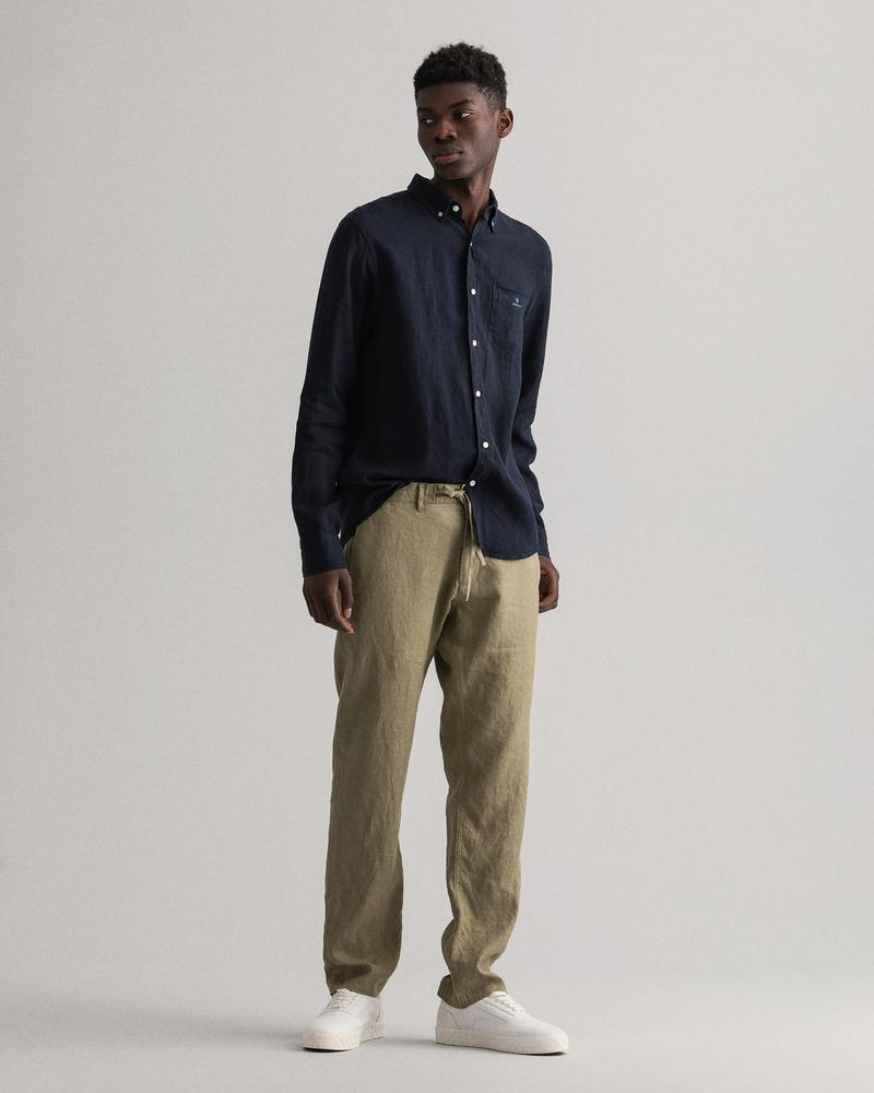 Gant Erkek Yeşil Regular Fit Keten Pantolon