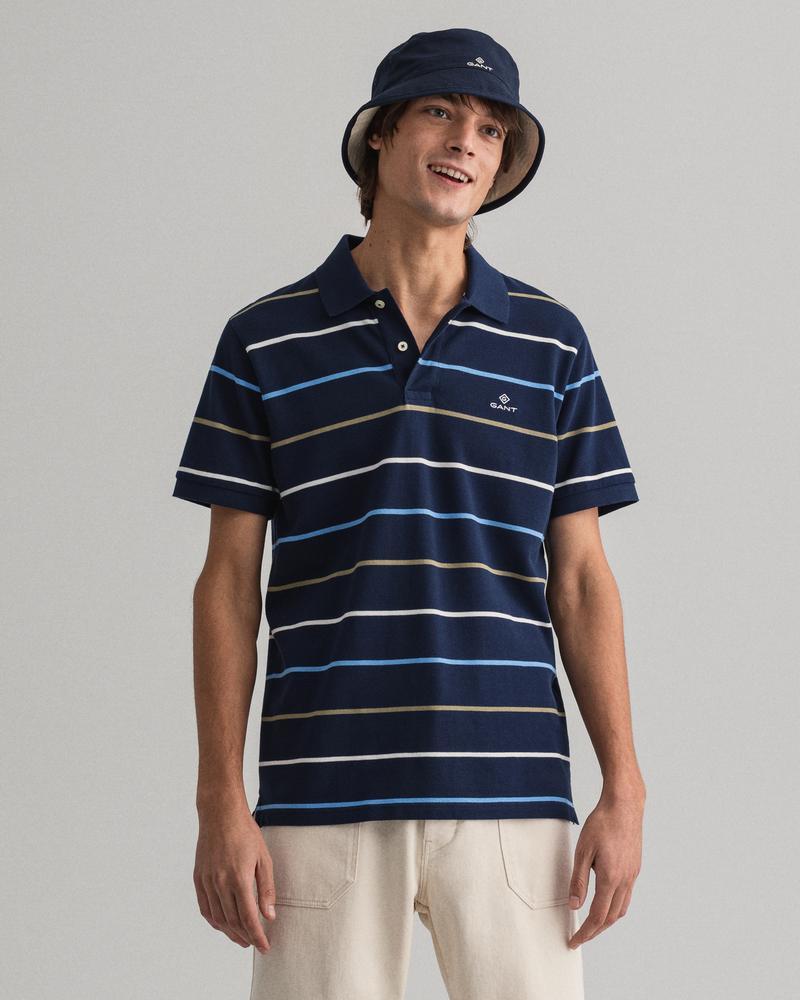Gant Erkek Çizgili Lacivert Polo