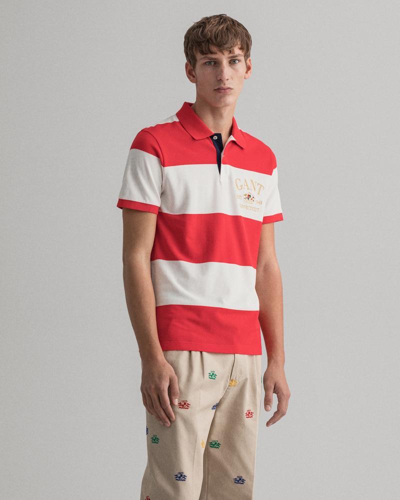 Gant Erkek Çizgili Kırmızı Polo