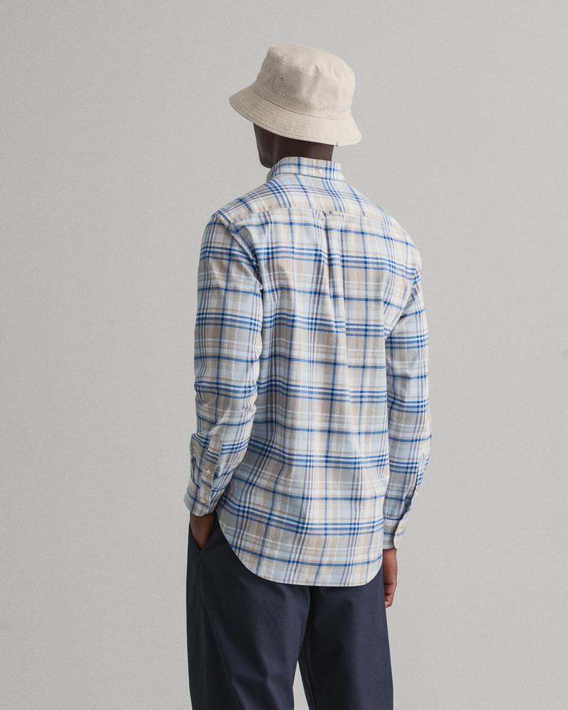 Gant Erkek Bej Regular Fit Oxford Kareli Gömlek