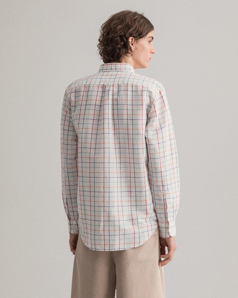 Gant Erkek Beyaz Kareli Regular Fit Keten Gömlek